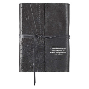 Commit to the Lord Black Full Grain Leather Journal with Wrap Closure - Proverbs 16:3