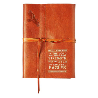 Wings of Eagles Saddle Tan Full Grain Leather Journal with Wrap Closure - Isaiah 40:31