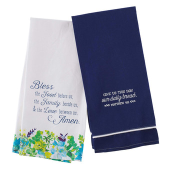 Our Daily Bread Set of Two Tea Towels in Blues - Matthew 11:6