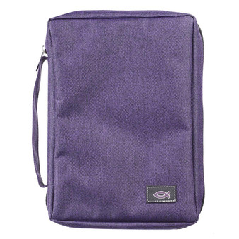 Purple Poly-Canvas Value Bible Cover with Fish Badge