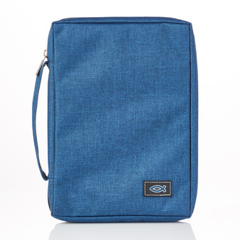 Blue Poly-canvas Bible Cover with Fish Badge
