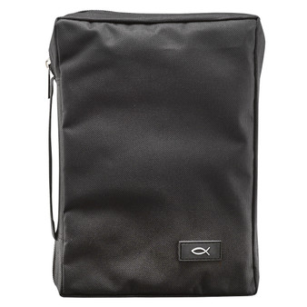 Polyester with Fish Badge in Black Bible Cover