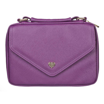 Purple Faux Leather Fashion Bible Cover with Decorative Flap and Metal Heart Badge