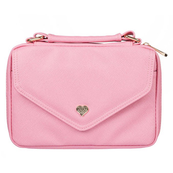 Pink Faux Leather Fashion Bible Cover with Decorative Flap and Metal Heart Badge