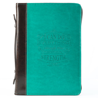 I Can Do Everything Turquoise & Brown Faux Leather Fashion Bible Cover - Philippians 4:13