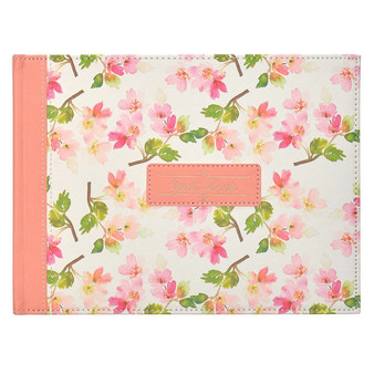 Floral Medium Pink Faux Leather Guest Book