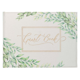 Green Leaves Medium White and Green Faux Leather Guest Book