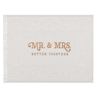 Mr. & Mrs. Medium White Faux Leather Wedding Guest Book