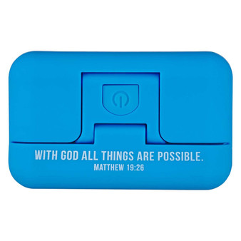 With God All Things Are Possible Blue Adjustable Clip-on Book Light - Matthew 16:26