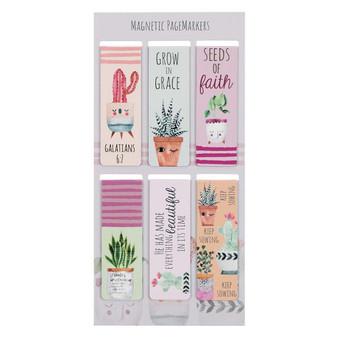 Succulent Garden Magnetic Bookmark Set