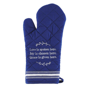 Love Is Spoken Here Quilted Blue Oven Mitt