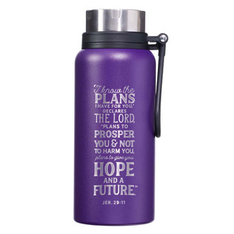 I Know the Plans Purple Stainless Steel Water Bottle - Jeremiah 29:11