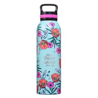 His Grace Stainless Steel Water Bottle - 2 Corinthians 12:9