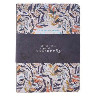 Through Christ Navy Floral Large Notebook Set - Philippians 4:13