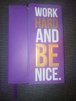 Work Hard And Be Nice Purple Zippered Journal