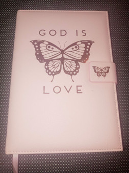 God Is Love Pink Butterfly Journal
