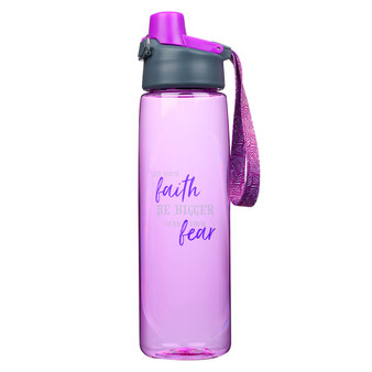 Faith Bigger Than Fear Plastic Water Bottle in Purple