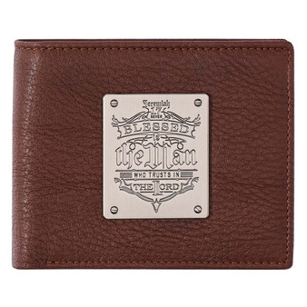 Blessed Is The Man Brown Genuine Leather Wallet - Jeremiah 17:7