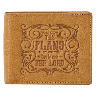 I Know The Plans Golden Tan Genuine Leather Wallet - Jeremiah 29:11