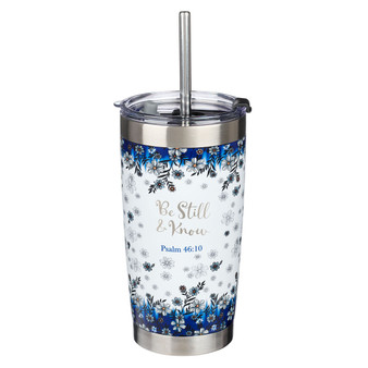 Be Still & Know Blue Floral Stainless Steel Travel Mug with Reusable Stainless Steel Straw - Psalm 46:10