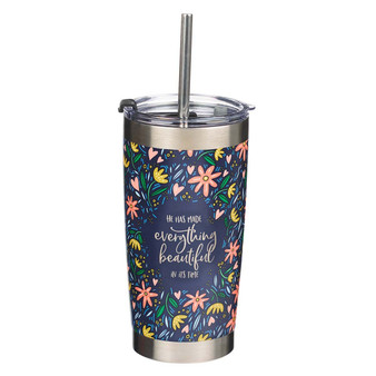 Everything Beautiful Stainless Steel Travel Mug with Reusable Stainless Steel Straw - Ecclesiastes 3:11
