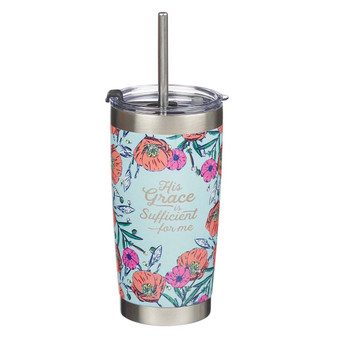 His Grace Stainless Steel Travel Mug With Reusable Stainless Steel Straw