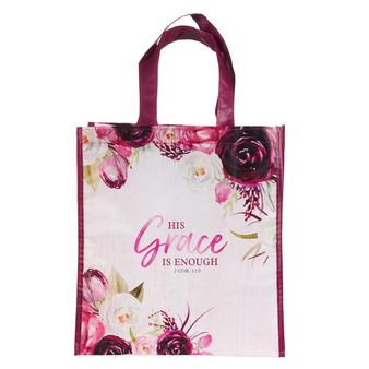 His Grace is Enough Plum Pink Non-Woven Tote Bag - 2 Corinthians 12:9