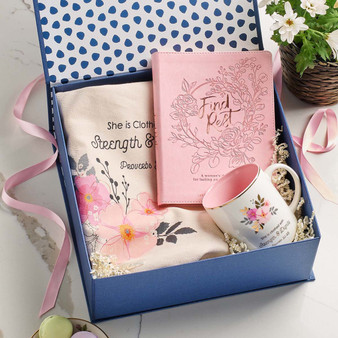 Find Rest Devotional, Mug, and Tote Gift Set For Women