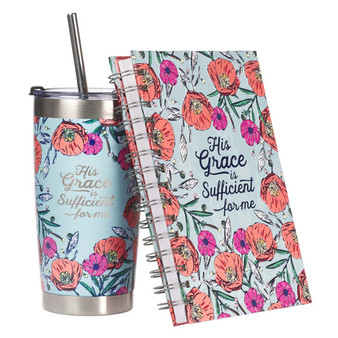 His Grace Is Sufficient Journal and Stainless Steel Travel Mug Boxed Gift Set For Women.