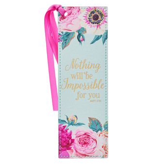 Nothing Will Be Impossible Pink Floral Faux Leather Bookmark - Matthew 17:20