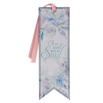 It is Well Hymn Watercolor Floral Faux Leather Bookmark