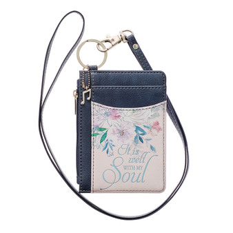 Well With My Soul Hymn Soft Pink and Blue Faux Leather ID Card Holder