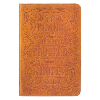 I Know the Plans Butterscotch Handy-sized Full Grain Leather Journal - Jeremiah 29:11