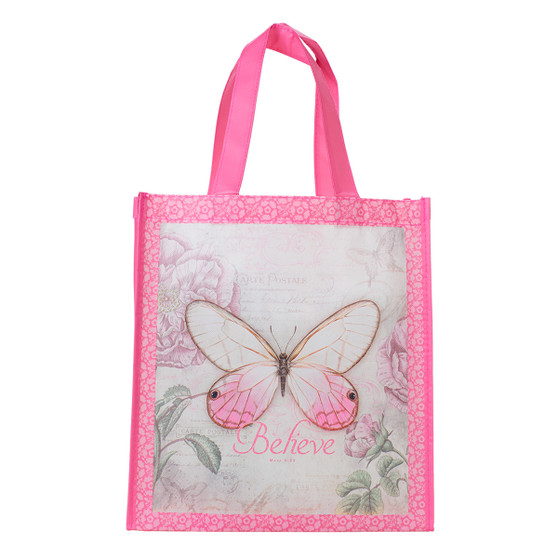 Butterfly Pink Believe Shopping Bag