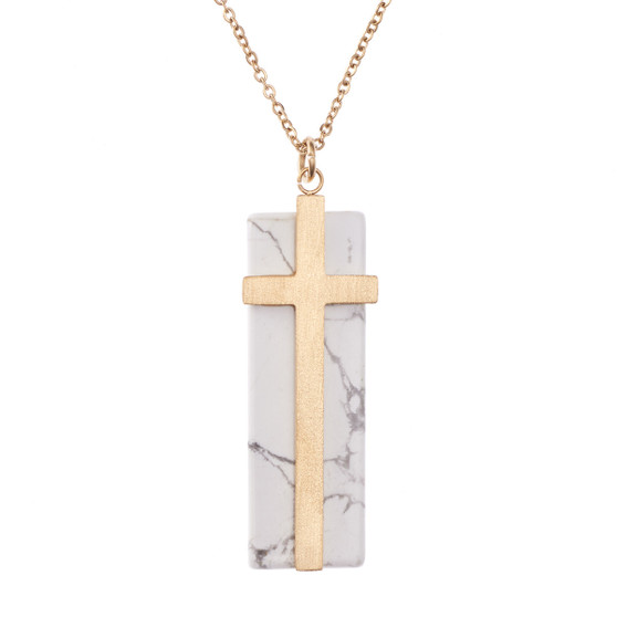 Cross On Marble Stone Necklace