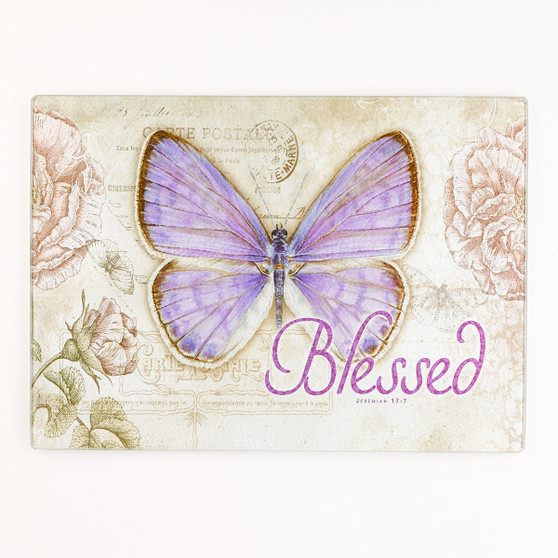 Butterfly Blessings - Large Glass Cutting Board