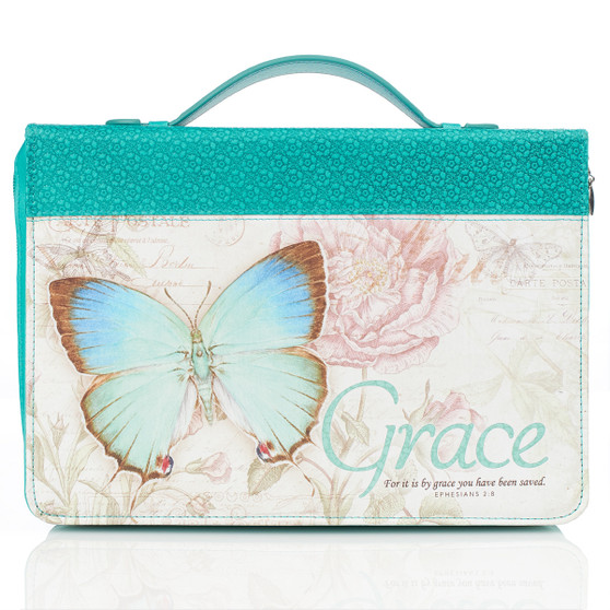 Grace Butterfly in Teal Bible Cover