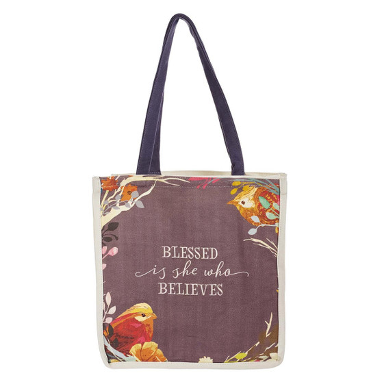 Blessed Is She Cotton Canvas Tote Bag