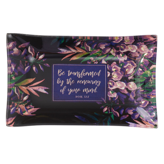Be Transformed Glass Trinket Tray - Romans 12:2