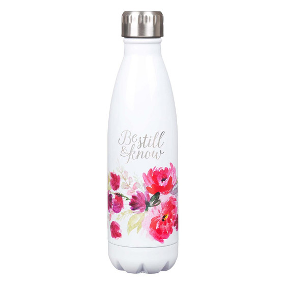 Be Still & Know White Floral Stainless Steel Water Bottle - Psalm 46:10