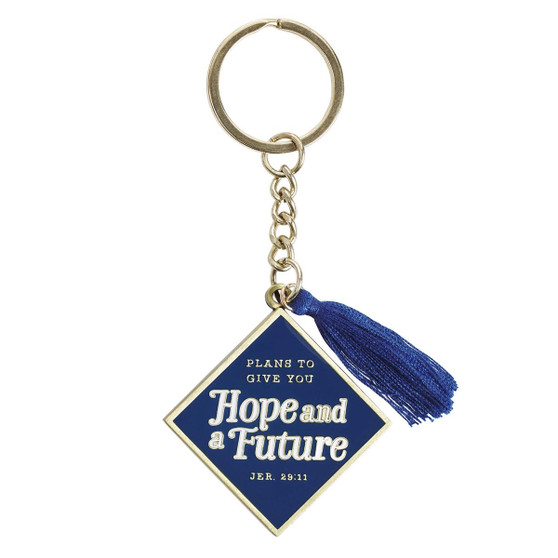 Hope and a Future Navy Metal Graduation Keyring with Tassel in Gift Tin - Jeremiah 29:11