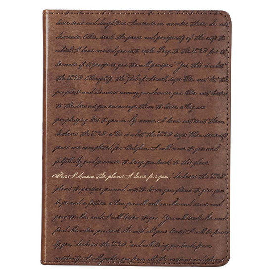 I Know the Plans Brown Handy-size Faux Leather Journal - Jeremiah 29:11
