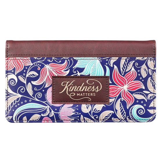 Kindness Matters Floral Faux Leather Checkbook Cover