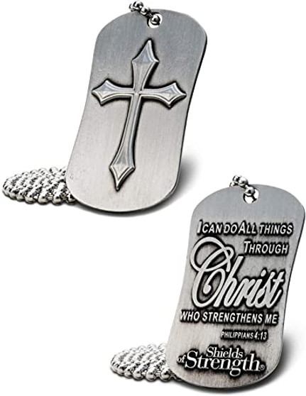 Phil 4:13-Antique Finish Dog Tag w/ Cross Necklace
