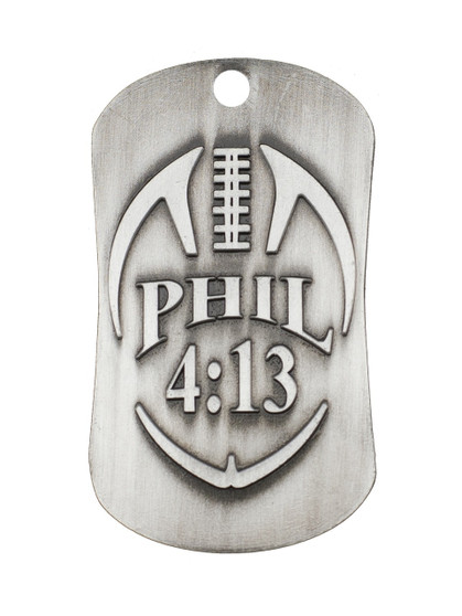 Football Antique Silver Finish Dog Tag Necklace-Phil 4:13