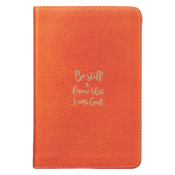 Be Still & Know Orange Handy-sized Full Grain Leather Journal - Psalm 46:10