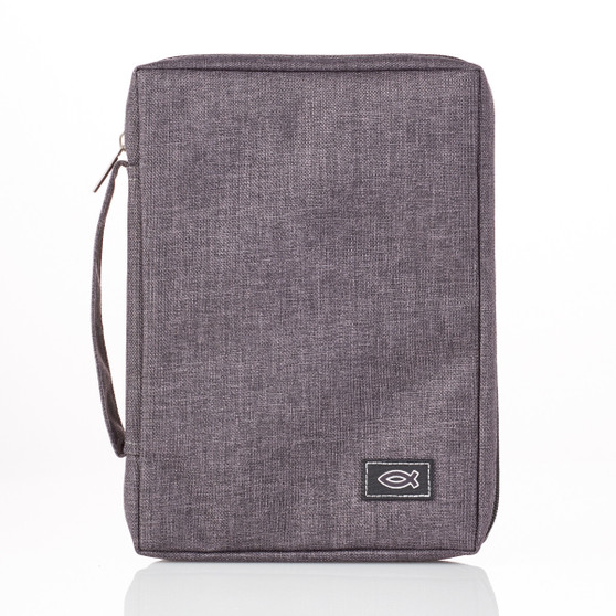 Gray Poly-canvas Bible Cover with Fish Badge