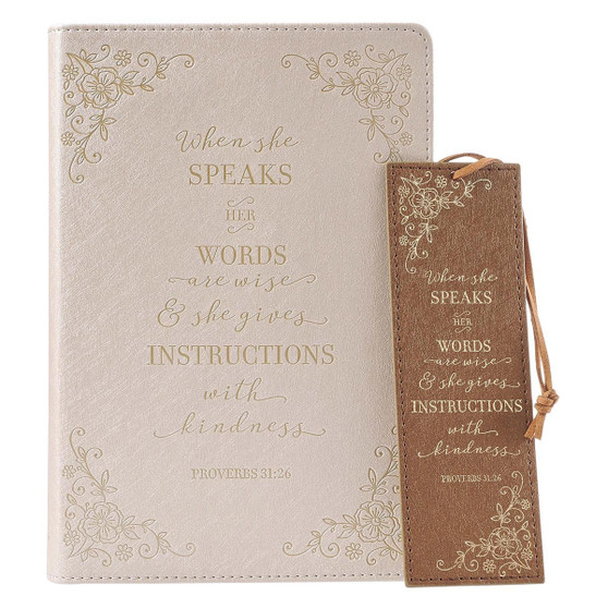 When She Speaks Faux Leather Journal and Bookmark Gift Set for Women - Proverbs 31:26