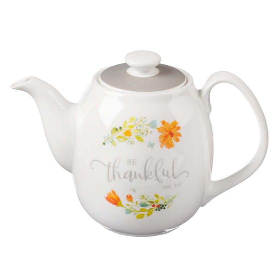 Be Thankful Ceramic Teapot - Colossians 3:15