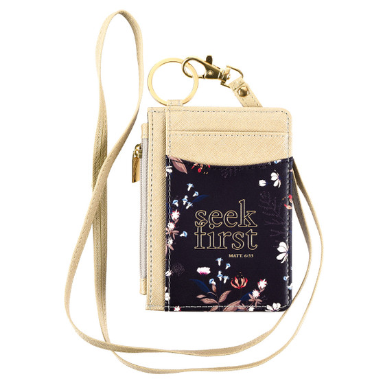 Seek First Taupe and Navy Faux Leather ID Card Holder - Matthew 6:33